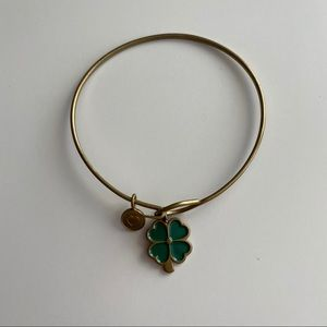 Jewelry - Lucky Four-Leaf Clover Gold Plated Bangle Bracelet